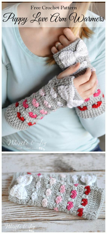 Puppy Love Arm Warmers Crochet Free Pattern Video - Crochet #Valentine; Heart #Gift; Ideas Free Patterns