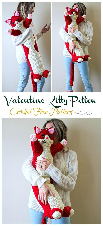 Valentine Kitty Pillow Crochet Free Pattern - Crochet #Valentine; Heart #Gift; Ideas Free Patterns