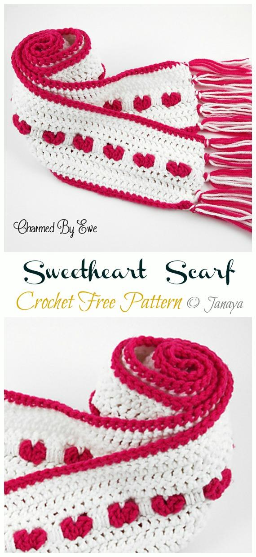 Sweetheart  Scarf Crochet Free Pattern - Crochet #Valentine; Heart #Gift; Ideas Free Patterns