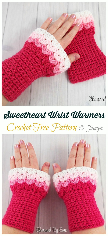 Sweetheart Wrist Warmers Crochet Free Pattern - Crochet #Valentine; Heart #Gift; Ideas Free Patterns