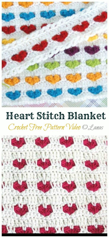 Heart Stitch Blanket Crochet Free Pattern - Crochet #Valentine; Heart #Gift; Ideas Free Patterns