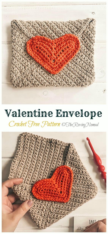Valentine Envelope Crochet Free Pattern - Crochet #Valentine; Heart #Gift; Ideas Free Patterns