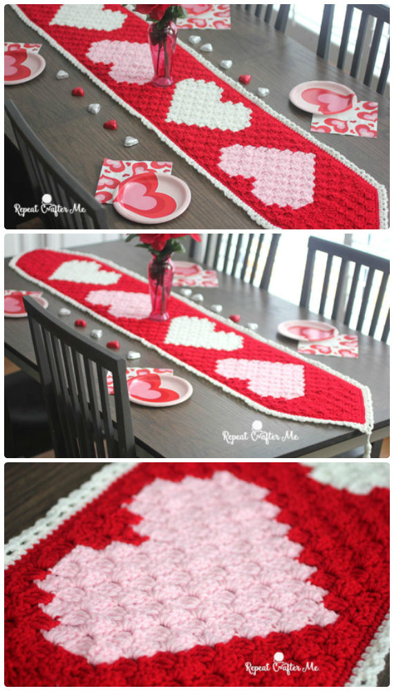 Valentine Heart Table Runner Crochet Free Pattern - Crochet #Valentine; Heart #Gift; Ideas Free Patterns