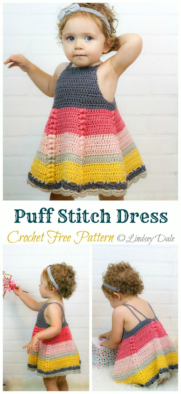 Puff Stitch Toddler Dress Crochet Free Pattern &Video - #Crochet Girls #Dress Free Patterns