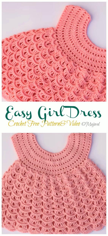 Easy Girl Dress Crochet Free Pattern &Video - #Crochet Girls #Dress Free Patterns