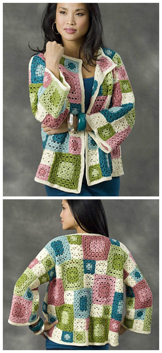 Crochet Granny Square Patchwork Tulsa Jacket Free Pattern - Granny Square Jacket & Coat #Crochet ; Free Patterns