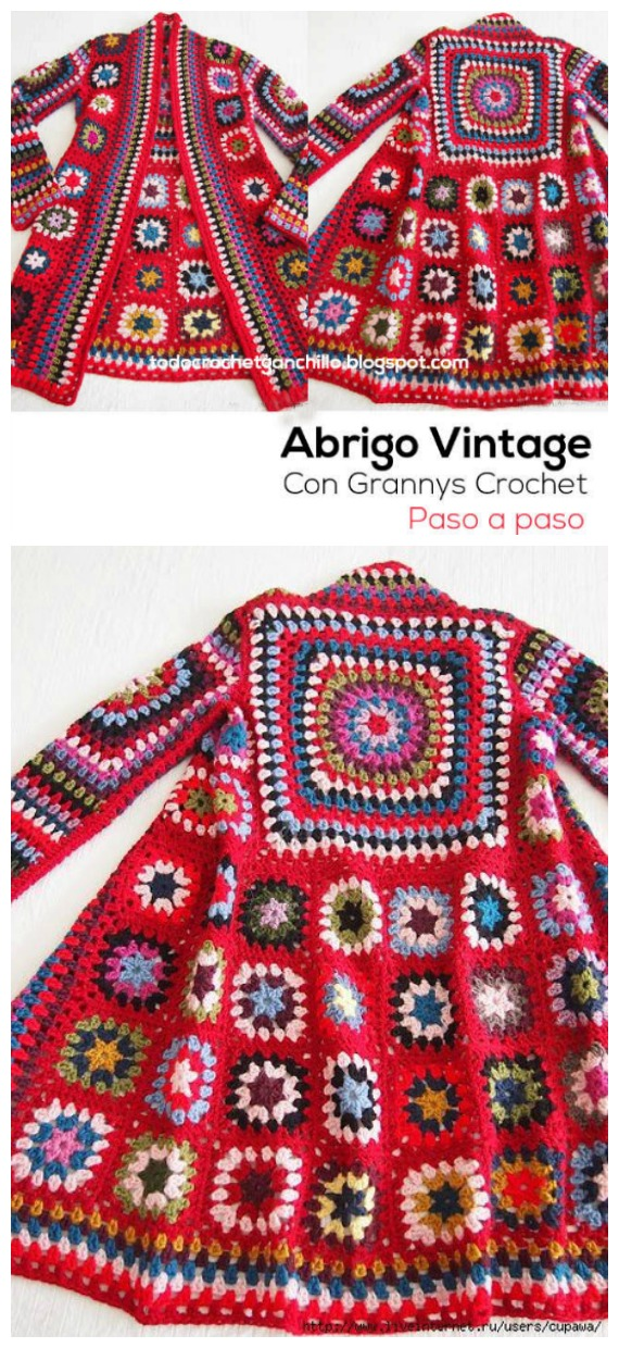 Crochet BOHO Granny Square Patchwork Jacket Free Pattern - Granny Square Jacket & Coat #Crochet ; Free Patterns