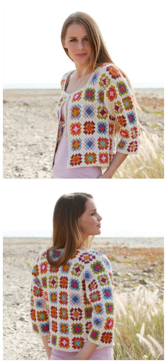 Crochet Summer Patchwork Granny Square Jacket Free Pattern - Granny Square Jacket & Coat #Crochet ; Free Patterns
