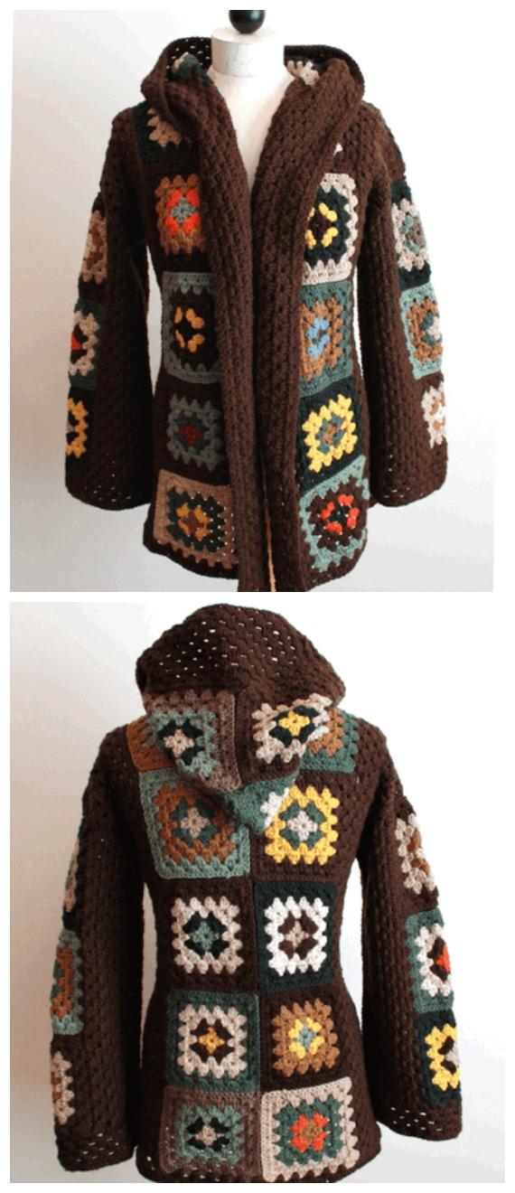 Scrap Granny Hooded Jacket Crochet Pattern  - Granny Square Jacket & Coat #Crochet ; Free Patterns