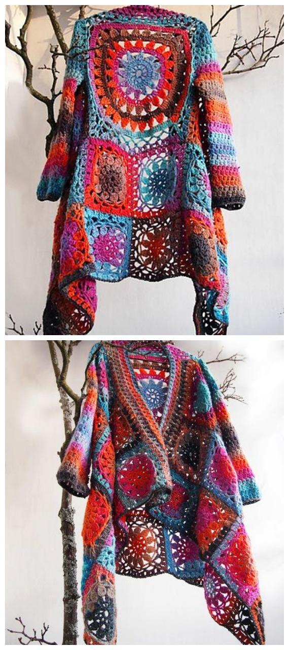 Flower Granny Square Jacket Crochet Free Pattern  - Granny Square Jacket & Coat #Crochet ; Free Patterns
