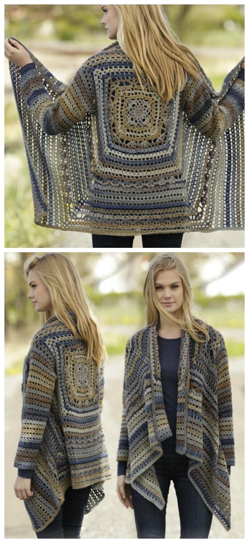 Autumn Delight Square Jacket Crochet Free Pattern  - Granny Square Jacket & Coat #Crochet ; Free Patterns