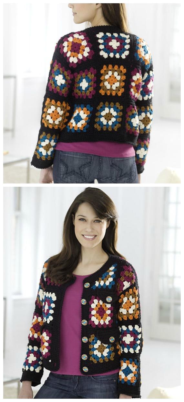 Granny Square Jacket Crochet Free Pattern  - Granny Square Jacket & Coat #Crochet ; Free Patterns