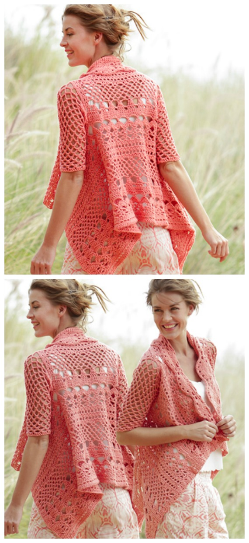 Peach Dream Lace Square Jacket Crochet Free Pattern  - Granny Square Jacket & Coat #Crochet ; Free Patterns