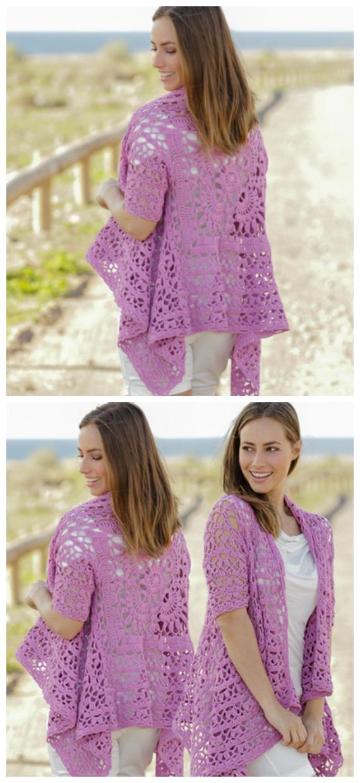 Lilac Dream Lace Square Jacket Crochet Free Pattern  - Granny Square Jacket & Coat #Crochet ; Free Patterns