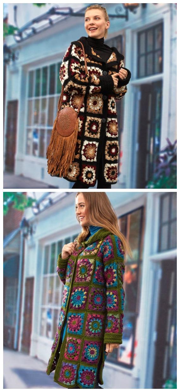 Sweater Coatigan Crochet Free Pattern  - Granny Square Jacket & Coat #Crochet ; Free Patterns