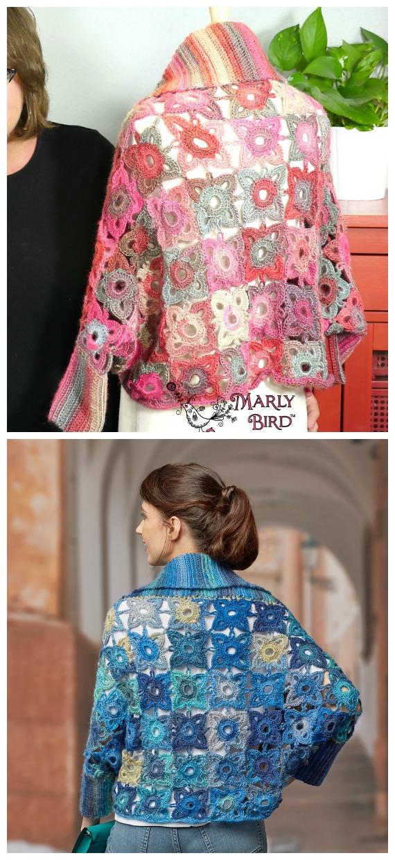 Marly Bird Granny Square Cardigan Crochet Free Pattern  - Granny Square Jacket & Coat #Crochet ; Free Patterns