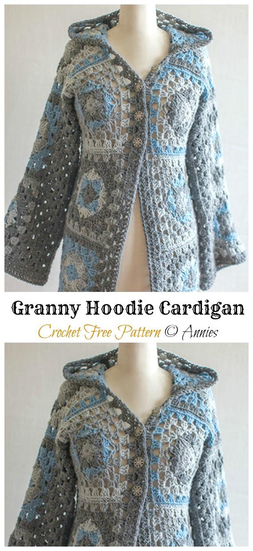 Granny Hoodie Cardigan Crochet Free Pattern  - Granny Square Jacket & Coat #Crochet ; Free Patterns