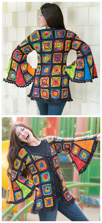 Flare Sleeve Granny Square Coat Cardigan Crochet Pattern  - Granny Square Jacket & Coat #Crochet ; Free Patterns