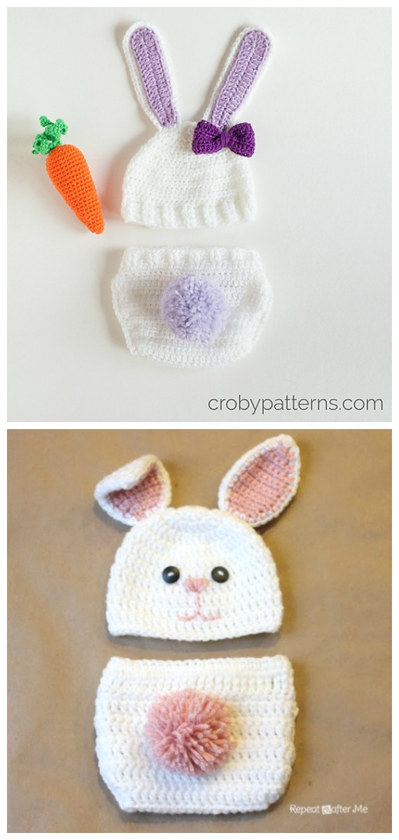 Baby Bunny Hat Diaper Set Free Crochet Patterns - Baby #Easter; Gifts # Crochet; Free Patterns