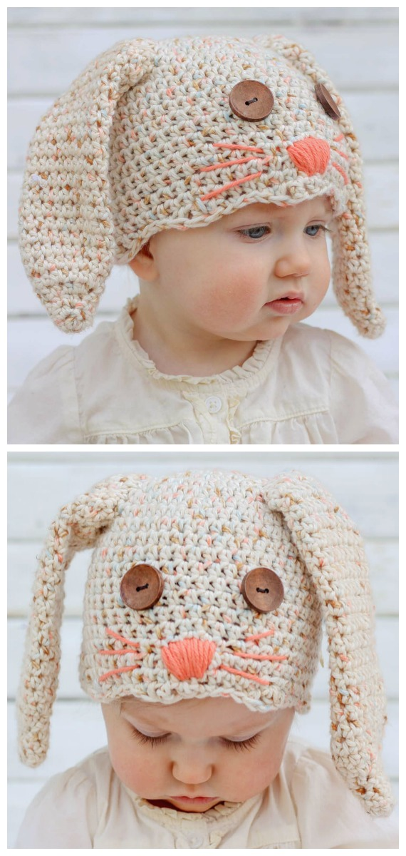 Baby Kids Bunny Hat & Carrot Rattle Free Crochet Patterns - Baby #Easter; Gifts # Crochet; Free Patterns