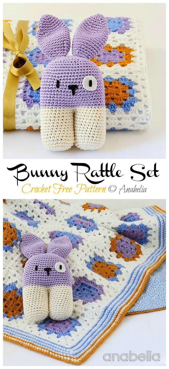 Baby Blanket and Bunny Rattle Set Free Crochet Patterns - Baby #Easter; Gifts # Crochet; Free Patterns