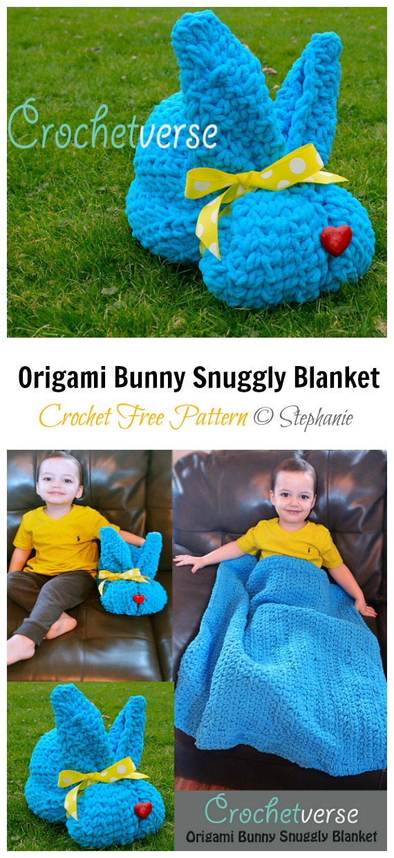 Origami Bunny Snuggly Blanket Free Crochet Patterns - Baby #Easter; Gifts # Crochet; Free Patterns