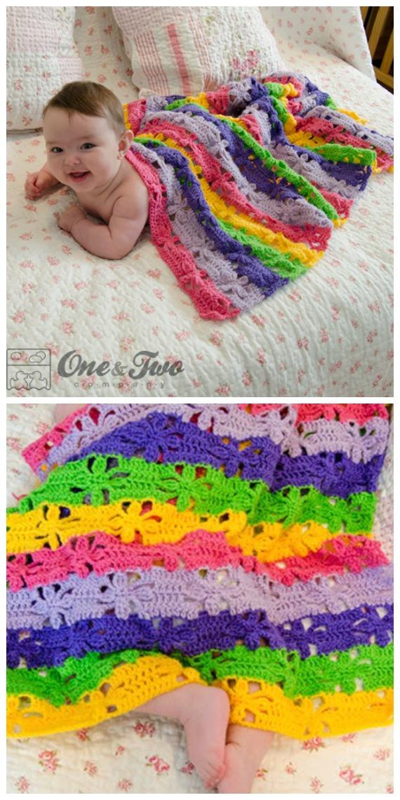Spring Flower Blanket Free Crochet Patterns - Baby #Easter; Gifts # Crochet; Free Patterns