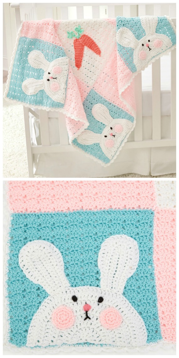 Luv My Bunny Blanket Free Crochet Patterns - Baby #Easter; Gifts # Crochet; Free Patterns