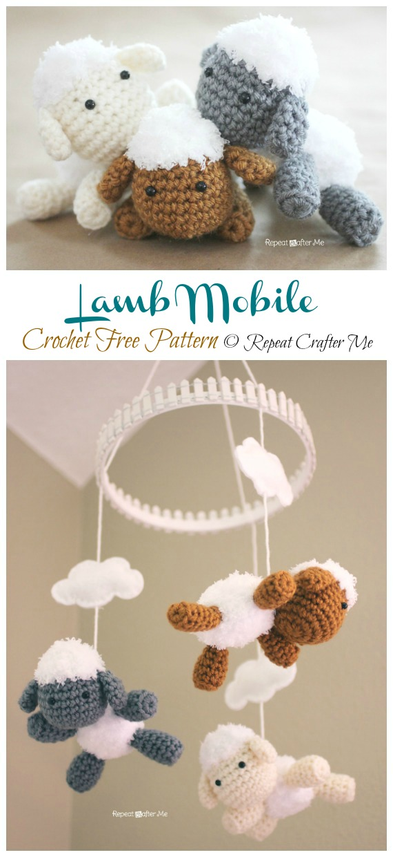 Lamb Mobile Free Crochet Patterns - Baby #Easter; Gifts # Crochet; Free Patterns