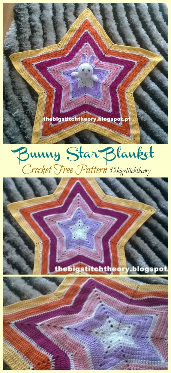 Bunny Star Blanket Free Crochet Patterns - Baby #Easter; Gifts # Crochet; Free Patterns