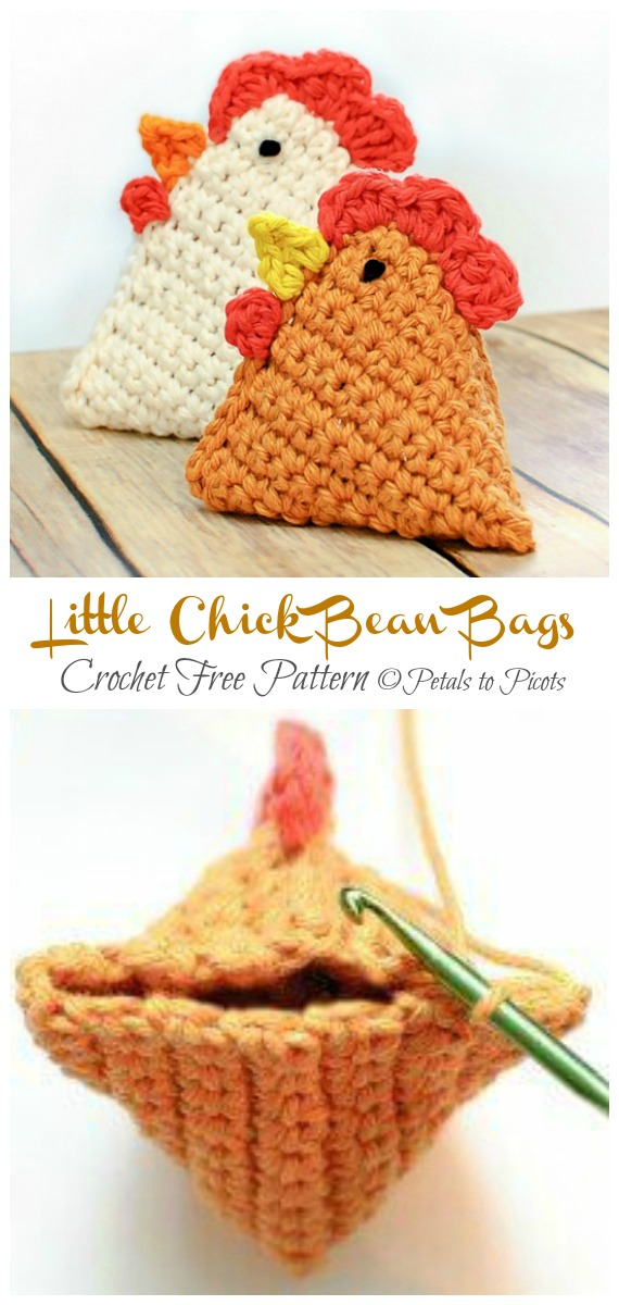 Little Chick Bean Bags Free Crochet Patterns - Baby #Easter; Gifts # Crochet; Free Patterns