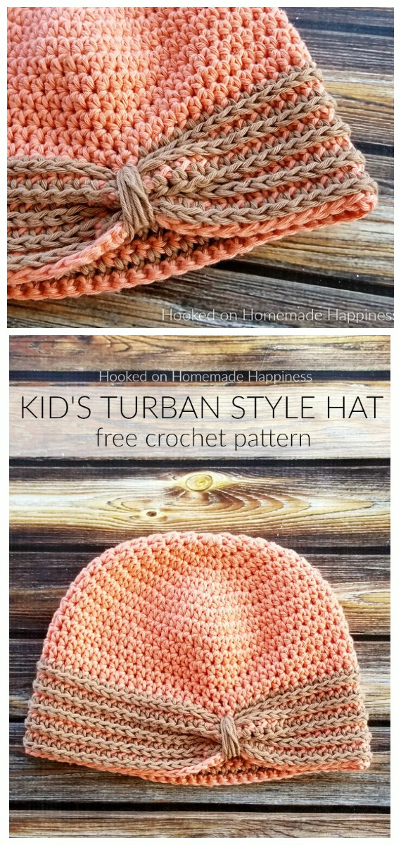 Kid's Turban Style Hat Crochet Free Pattern - #Crochet; #Turban; Hat Free Patterns
