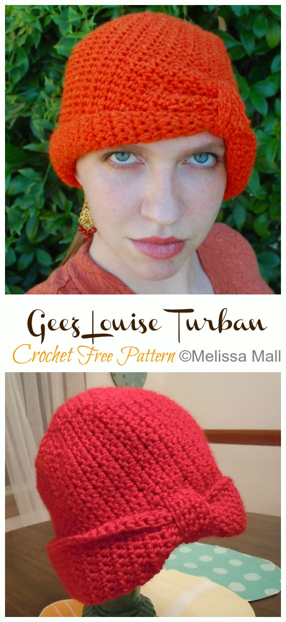 Geez Louise Turban Hat Crochet Free Patterns - #Crochet; #Turban; Hat Free Patterns