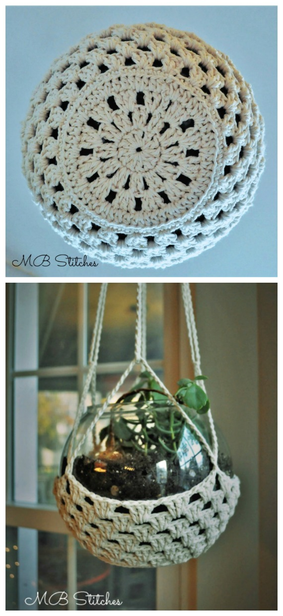 Succulent Terrarium Hanger Crochet Free Pattern - #Crochet; #Planter; Plant Pot Cozy Free Patterns
