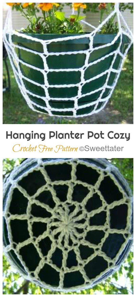 Hanging Planter Pot Cozy Crochet Free Pattern - #Crochet; #Planter; Plant Pot Cozy Free Patterns
