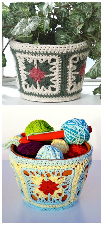 Dig-It Flowerpot Cover Crochet Free Pattern - #Crochet; #Planter; Plant Pot Cozy Free Patterns