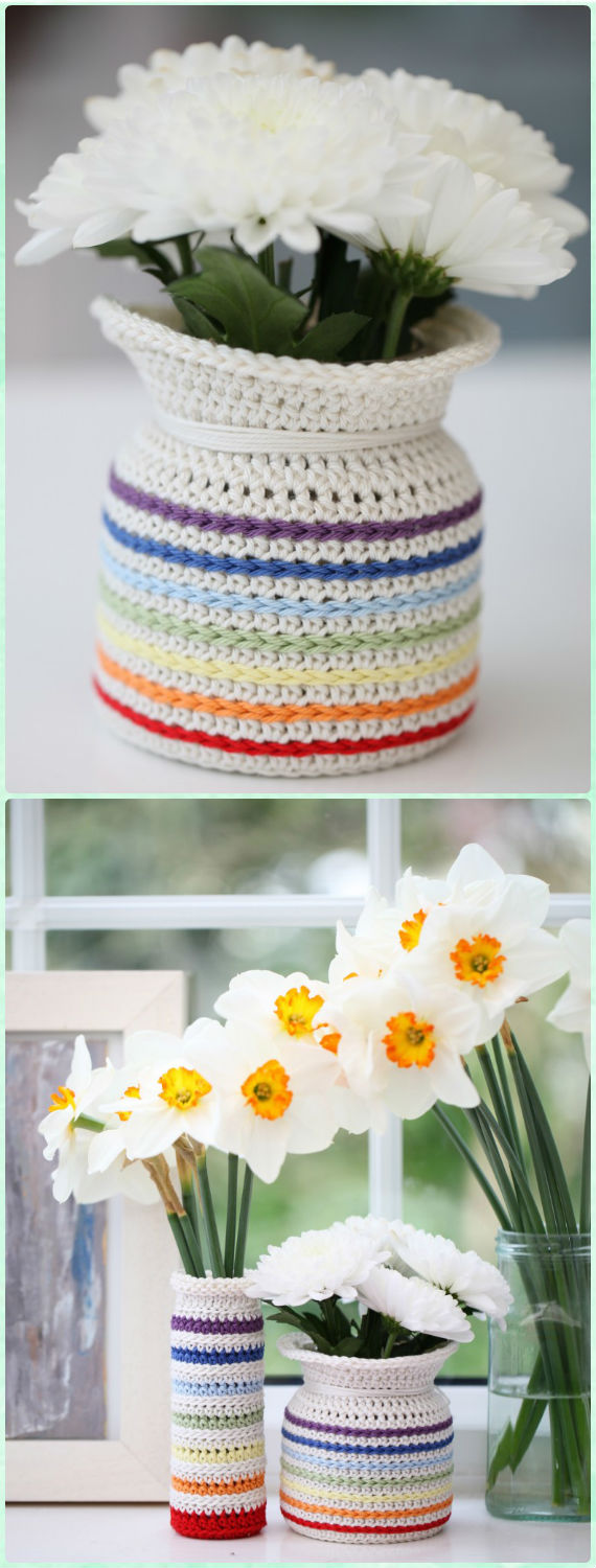Rainbow Flower Pot Cozy Crochet Free Pattern - #Crochet; #Planter; Plant Pot Cozy Free Patterns