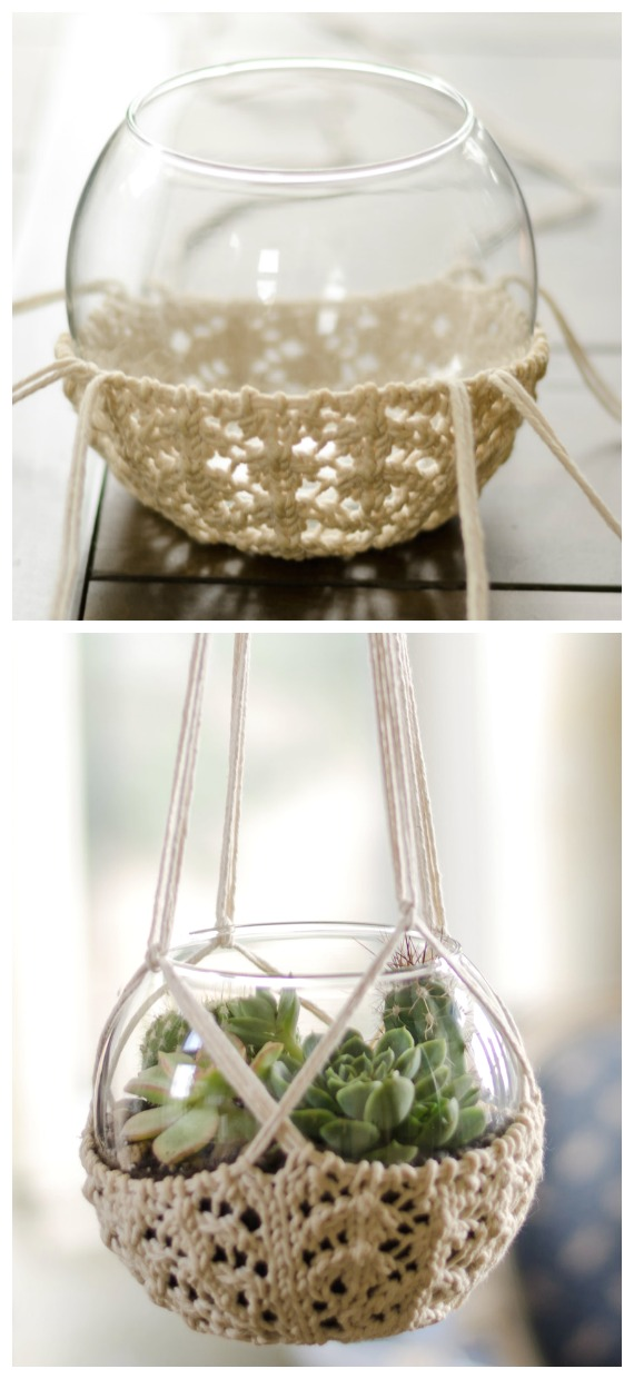 Knitted Terrarium Hanger Knitting Free Pattern - #Crochet; #Planter; Plant Pot Cozy Free Patterns