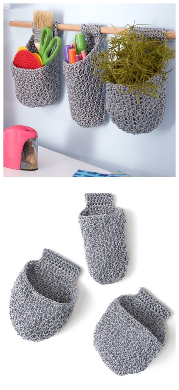 Hanging Baskets on Dowel Crochet Free Pattern - #Crochet; #Planter; Plant Pot Cozy Free Patterns