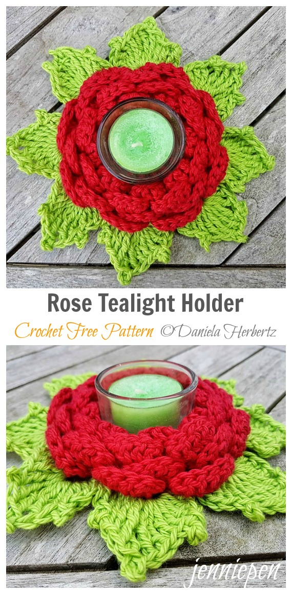 Rose Tealight Holder Crochet Free Pattern - Tealight Candle Holder #Crochet; Patterns