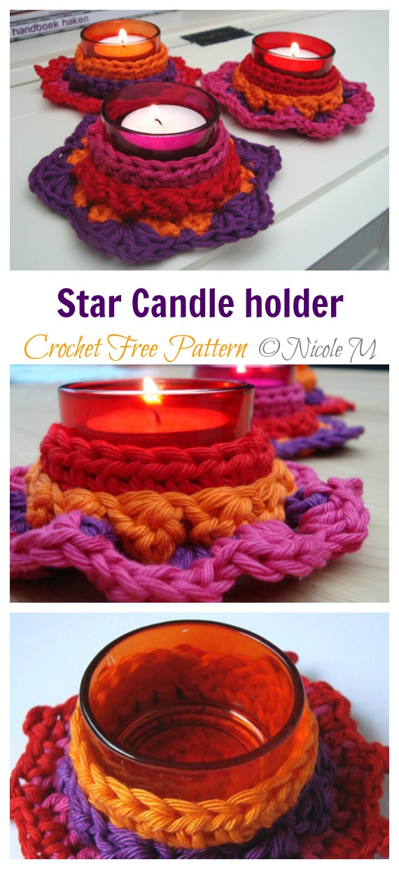 Star Candle holder Crochet Free Pattern - Tealight Candle Holder #Crochet; Patterns