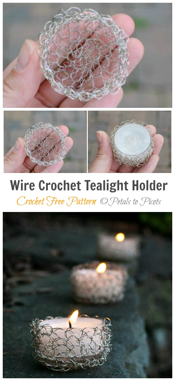 Wire Crochet Tealight Holder Crochet Free Pattern - Tealight Candle Holder #Crochet; Patterns