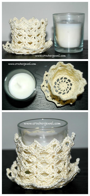 Shell Candle Holder Crochet Free Pattern - Tealight Candle Holder #Crochet; Patterns