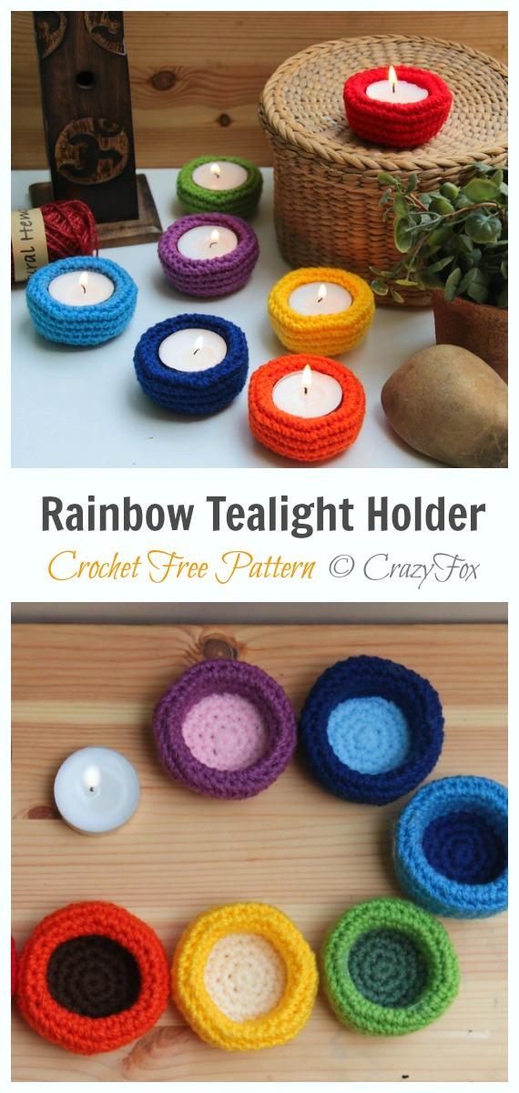 Rainbow tealight holders Crochet Free Pattern - Tealight Candle Holder #Crochet; Patterns