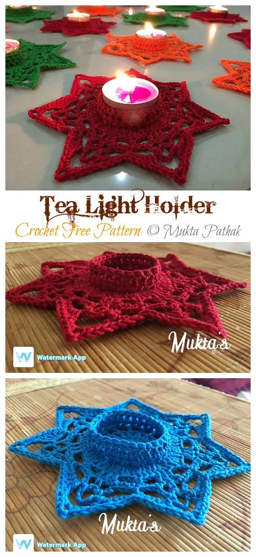 Tea Light Holder Crochet Free Pattern - Tealight Candle Holder #Crochet; Patterns