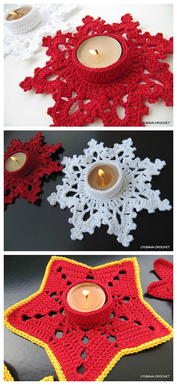 Christmas Candle Holder Crochet Pattern - Tealight Candle Holder #Crochet; Patterns