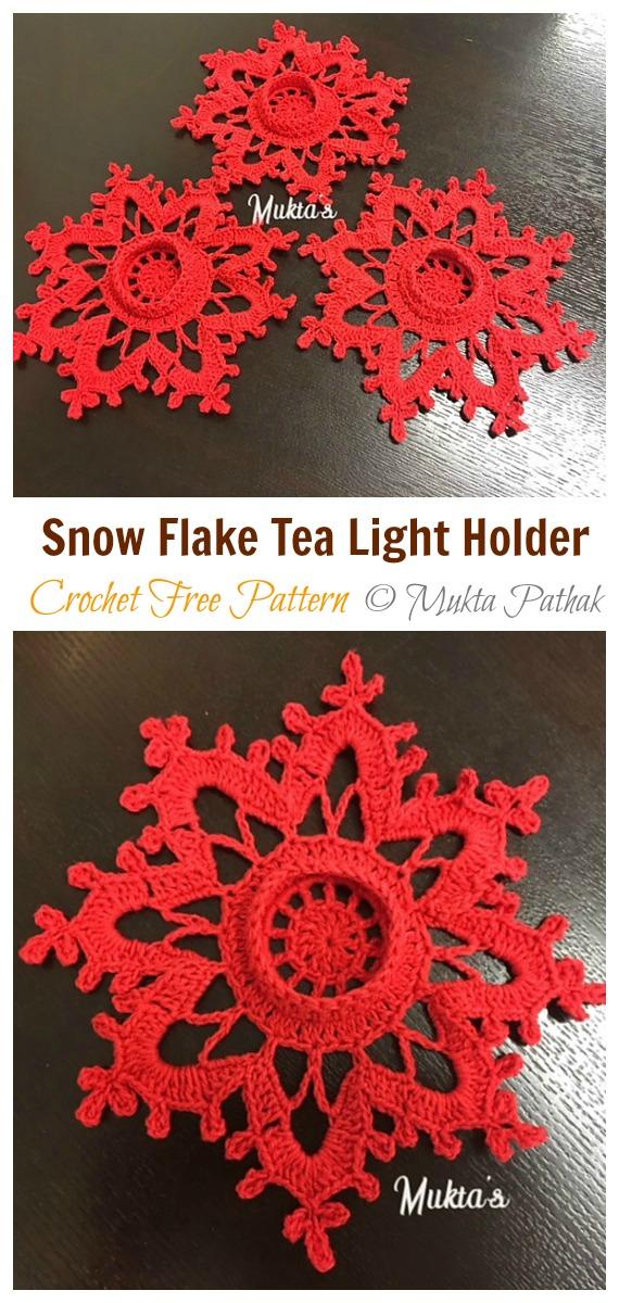Snow Flake Tea light holder Crochet Free Pattern - Tealight Candle Holder #Crochet; Patterns