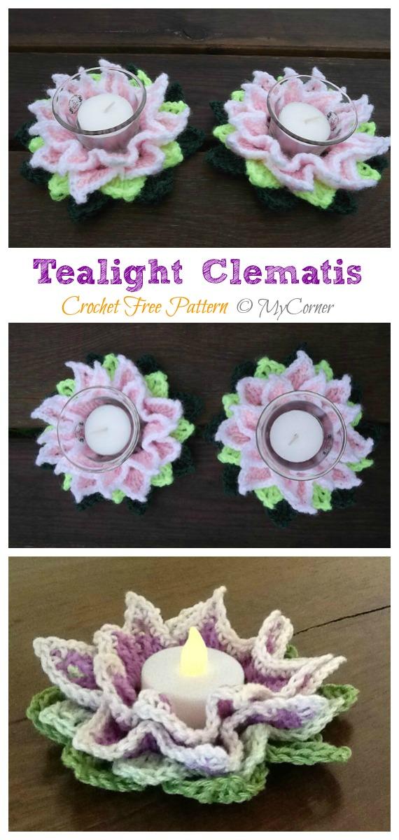 Tealight Clematis Crochet Free Pattern - Tealight Candle Holder #Crochet; Patterns