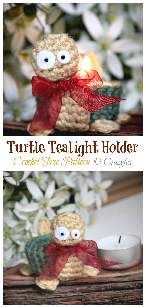 Turtle Tealight Holder Crochet Free Pattern - Tealight Candle Holder #Crochet; Patterns
