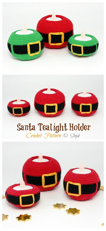 Santa Tea Light Holder Crochet Pattern - Tealight Candle Holder #Crochet; Patterns